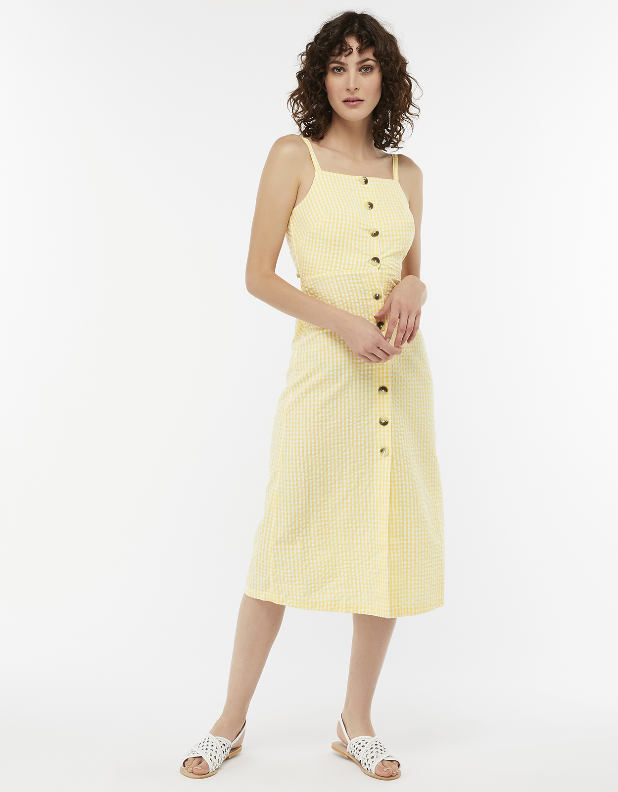 MONSOON CLEO COTTON GINGHAM DRESS YELLOW