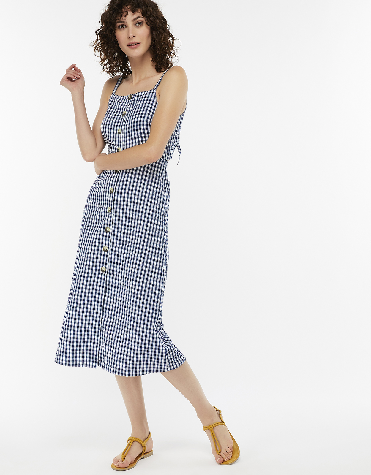 MONSOON CLEO COTTON GINGHAM DRESS NAVY