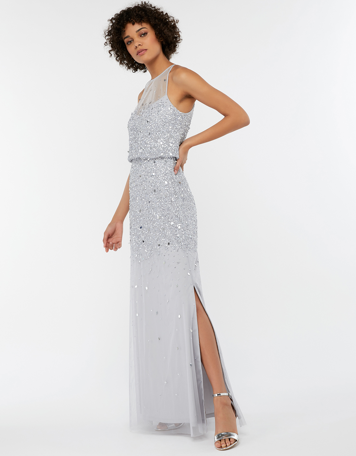 MONSOON TONI EMBELLISHED MAXI BRIDESMAID DRESS SILVER