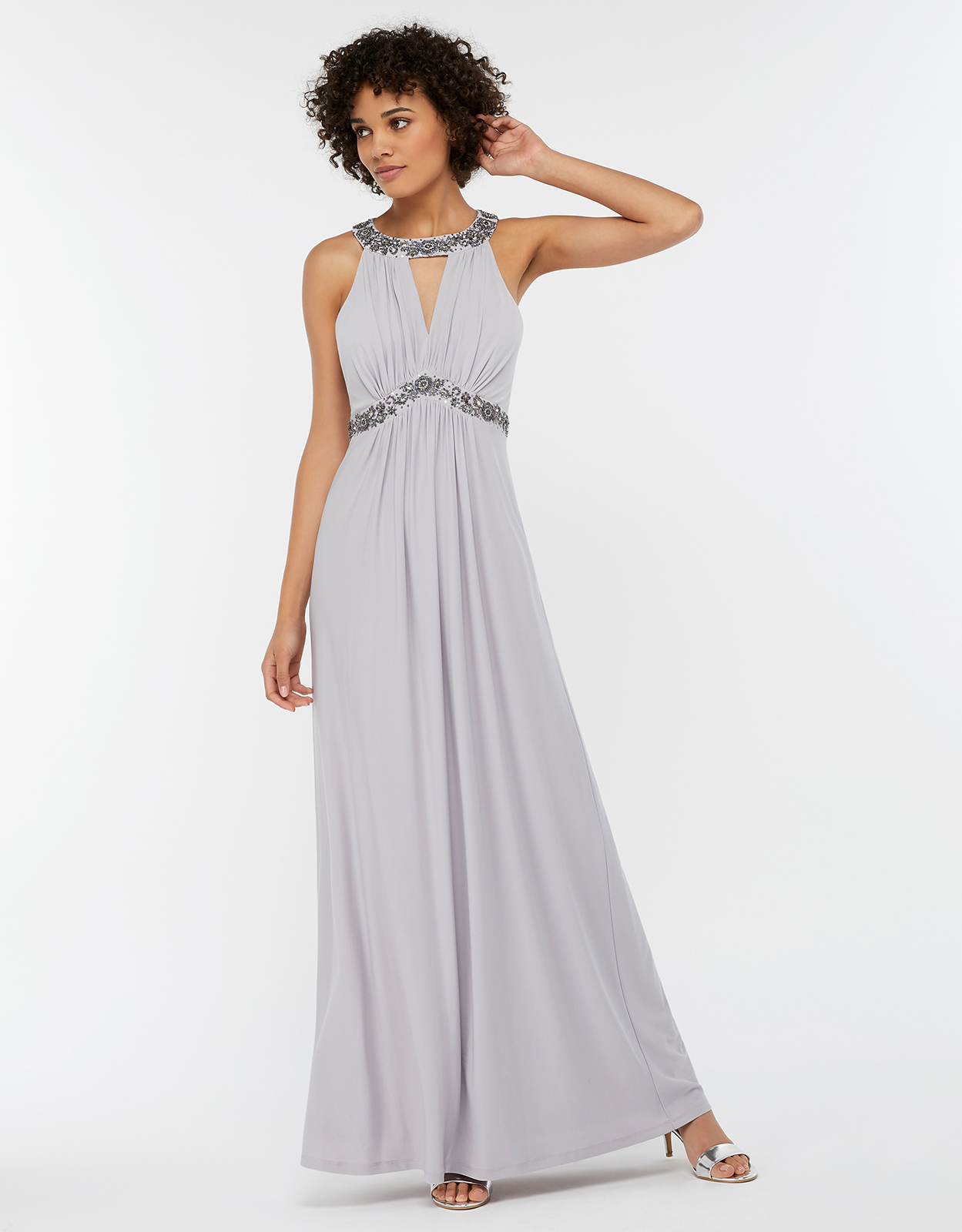 MONSOON ISABELI EMBELLISHED JERSEY MAXI BRIDESMAID DRESS SILVER