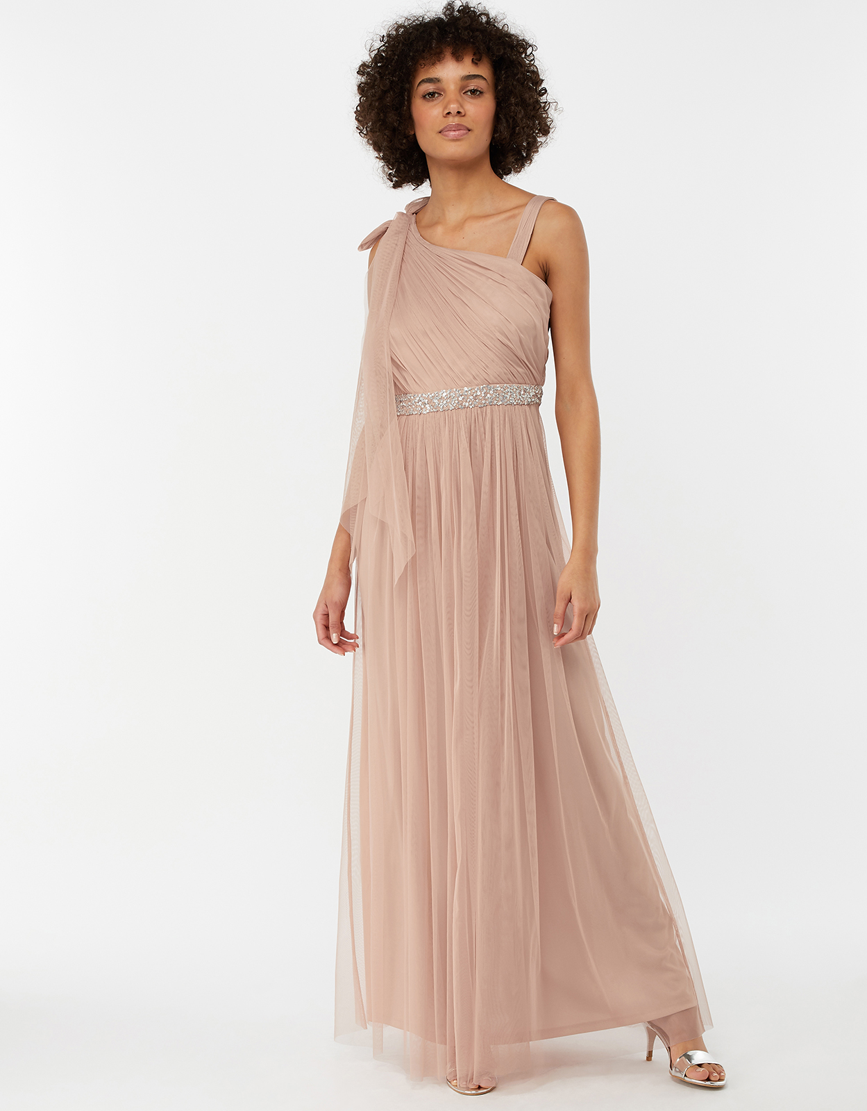 MONSOON ANOUCK ONE SHOULDER MAXI BRIDESMAID DRESS PINK
