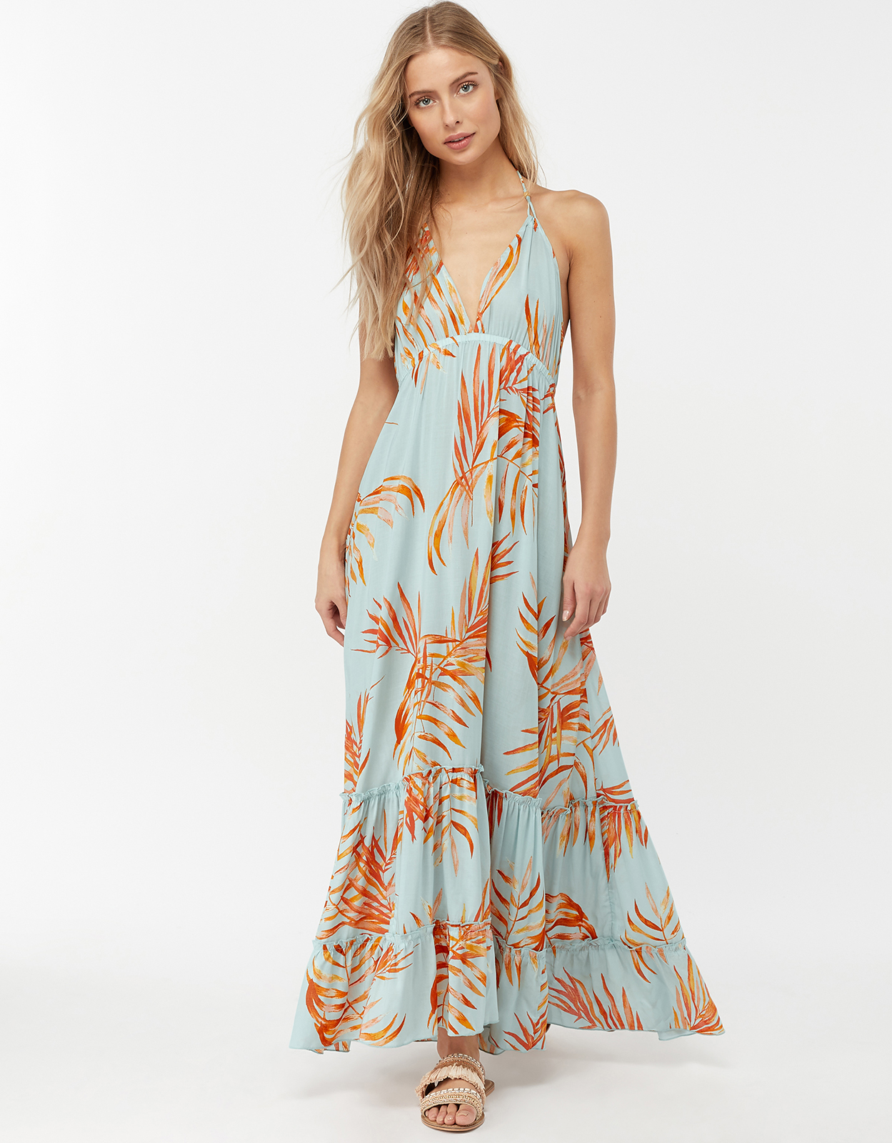 MONSOON AYLA PALM LEAVES MAXI DRESS BLUE