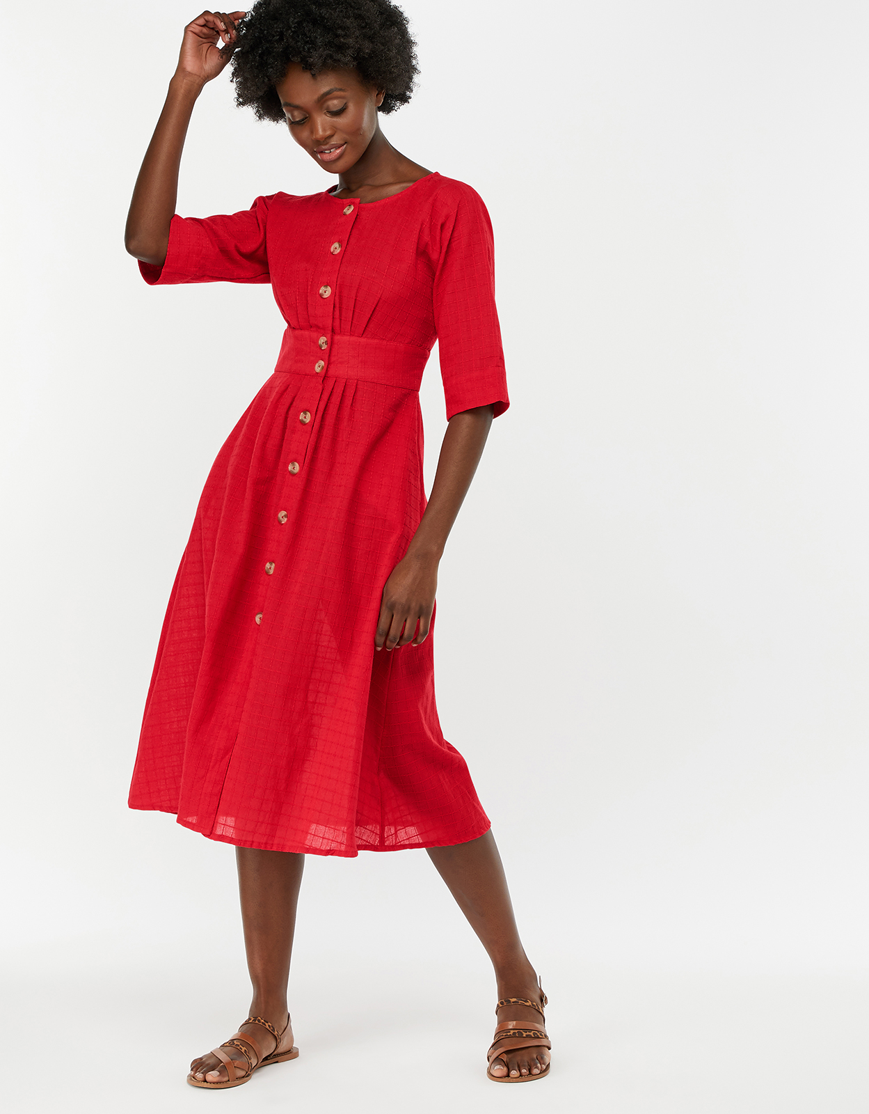 MONSOON ETNA COTTON MIDI DRESS RED