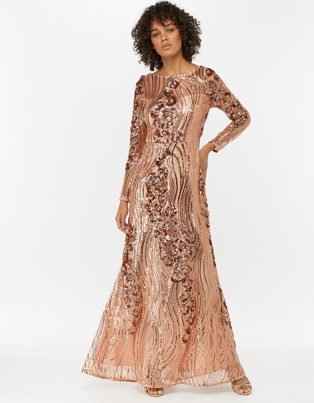 MONSOON SARINA EMBELLISHED SEQUIN MAXI DRESS PINK (ROSE)