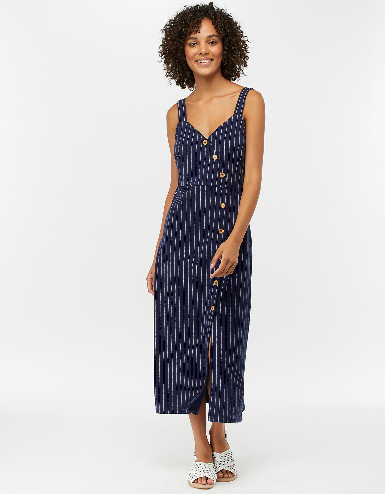 MONSOON PERI PINSTRIPE BUTTON DOWN MIDI DRESS NAVY