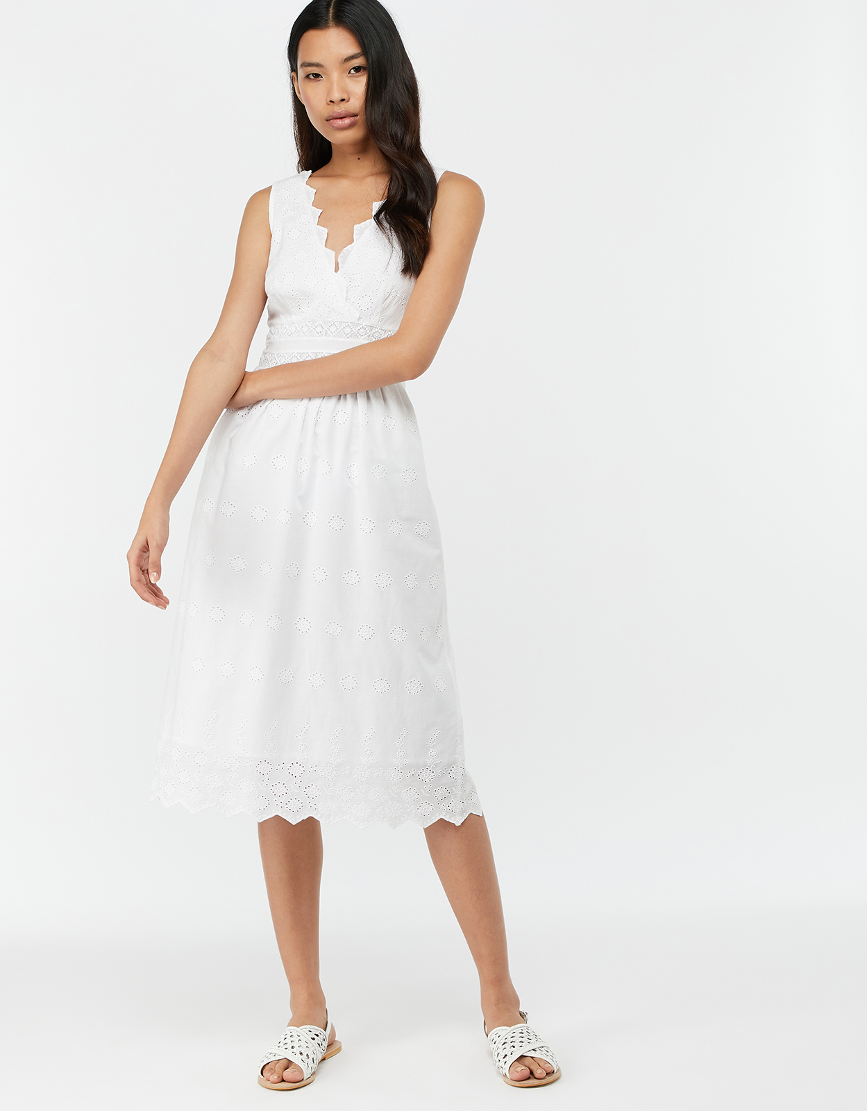 MONSOON AXEL SCHIFFLI COTTON SUNDRESS WHITE