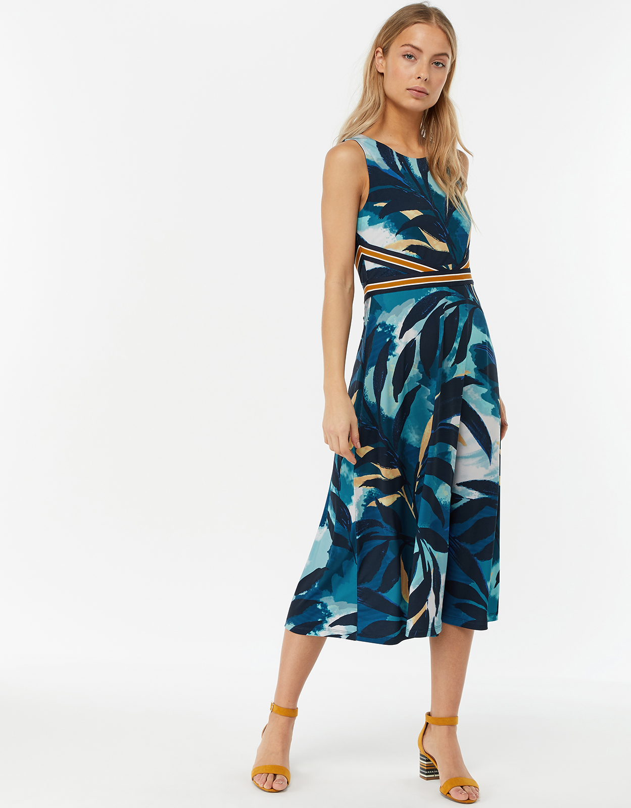 MONSOON AMARELLE PRINT MIDI DRESS NAVY