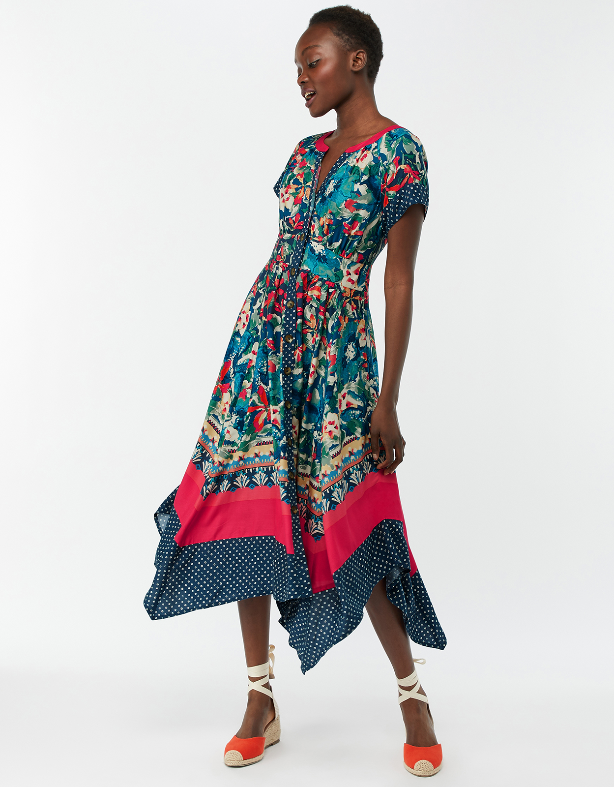 MONSOON LUCIANO PRINT HANKY HEM MIDI DRESS NAVY