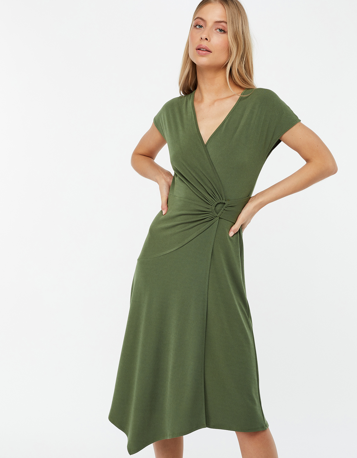 MONSOON KATY D RING JERSEY MIDI DRESS GREEN