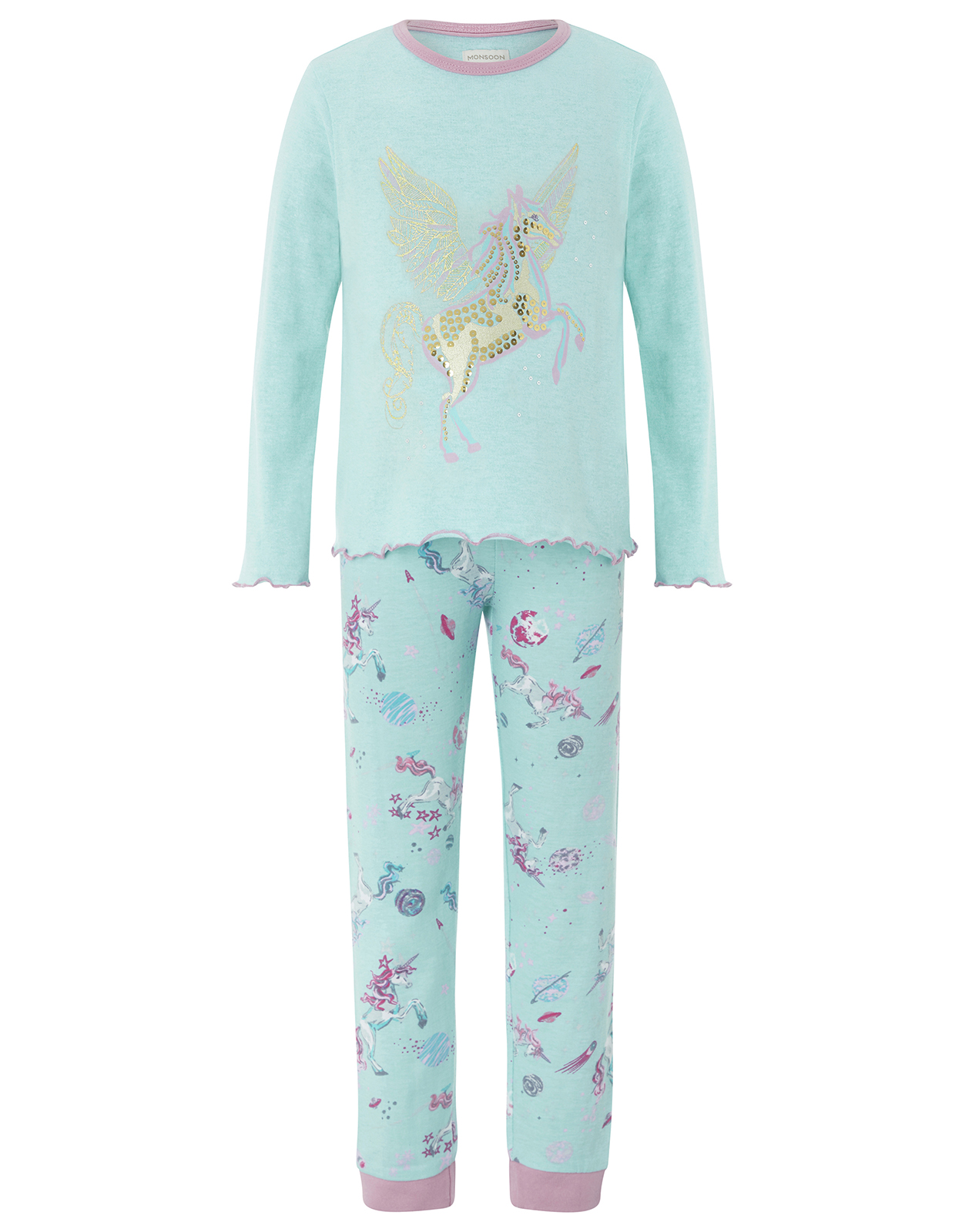 Monsoon Peggy Unicorn Jersey Pyjama Set
