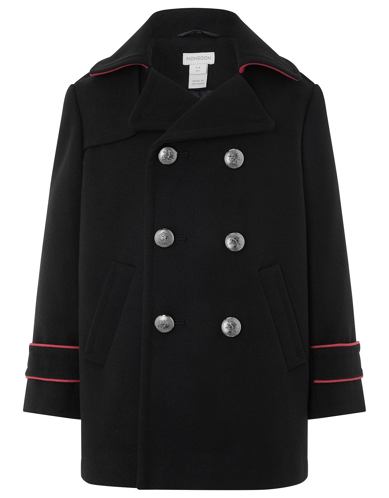 Monsoon Brando Black Pea Coat