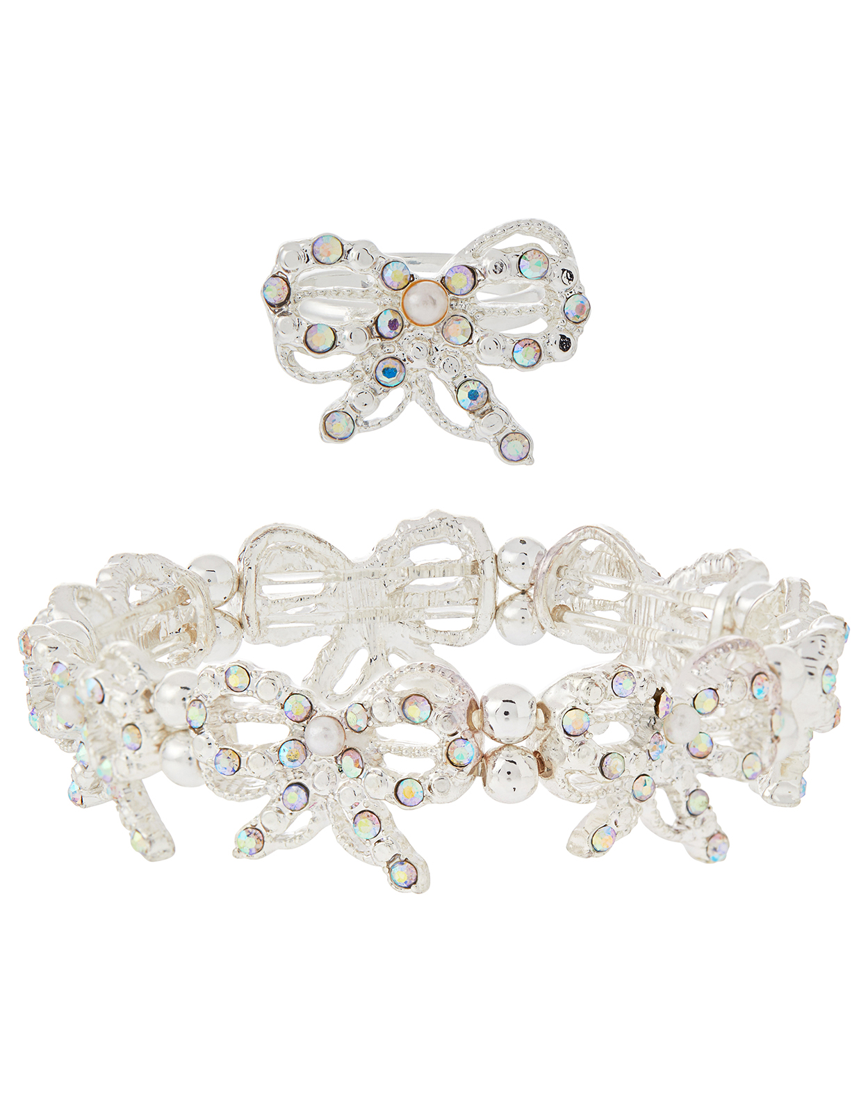 Monsoon Diamante Bow Stretch Bracelet & Ring
