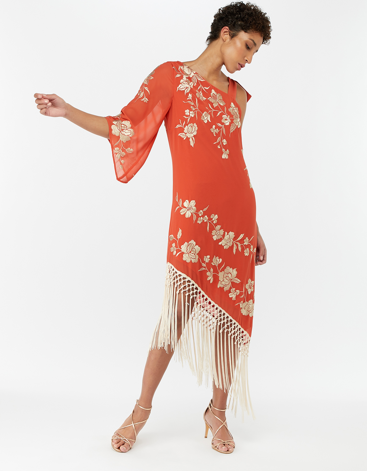 Monsoon Patsy Fringe Hem Embroidered Dress