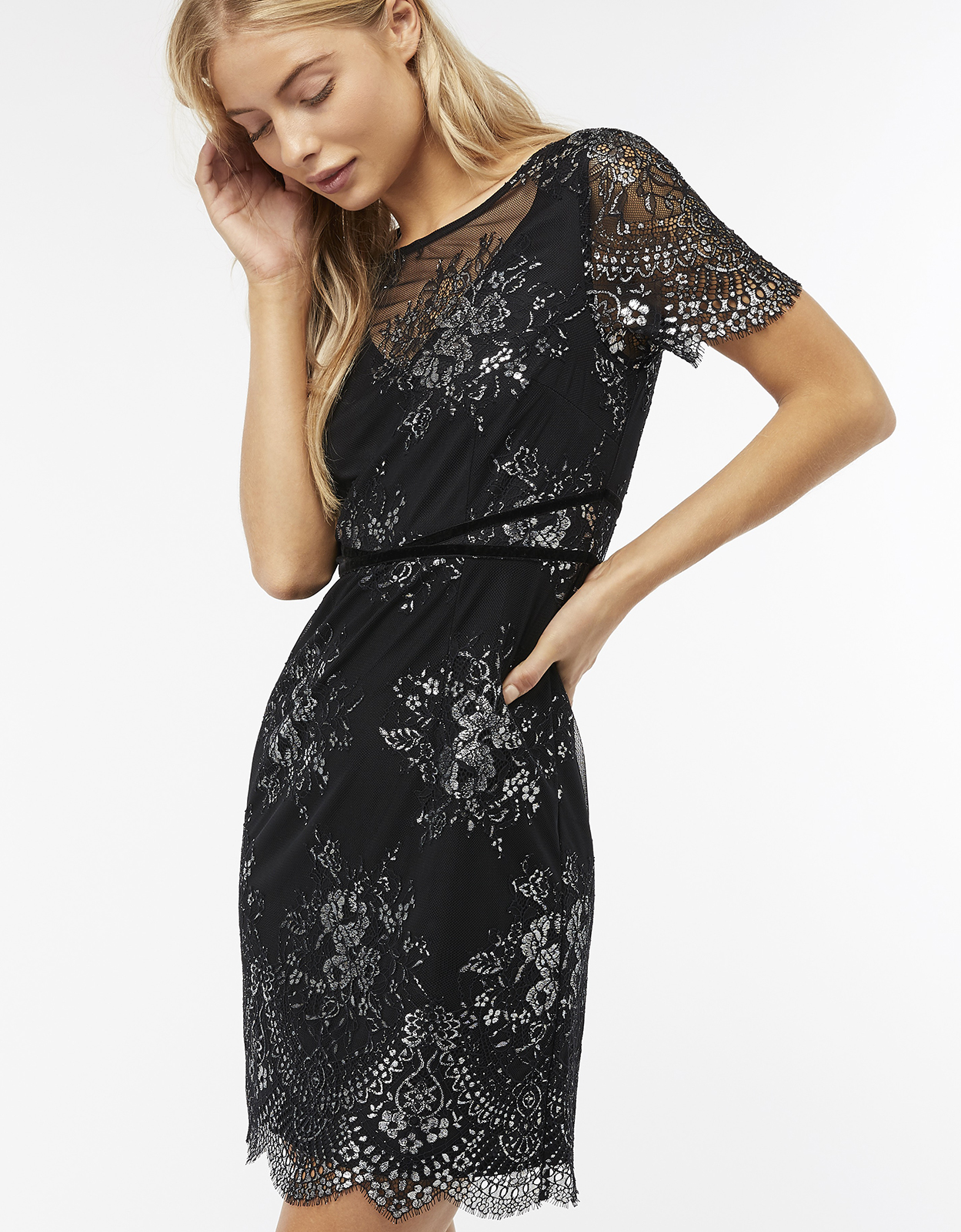 Monsoon Maisie Metallic Lace Shift Dress