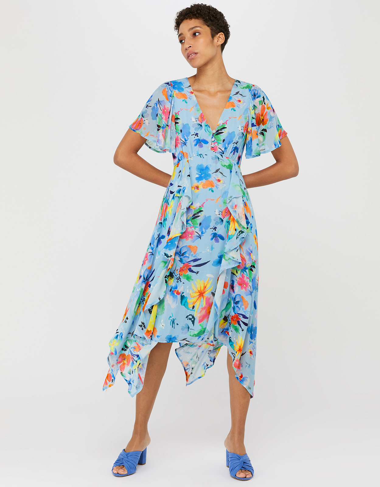 Monsoon Wendy Print Hanky Hem Dress