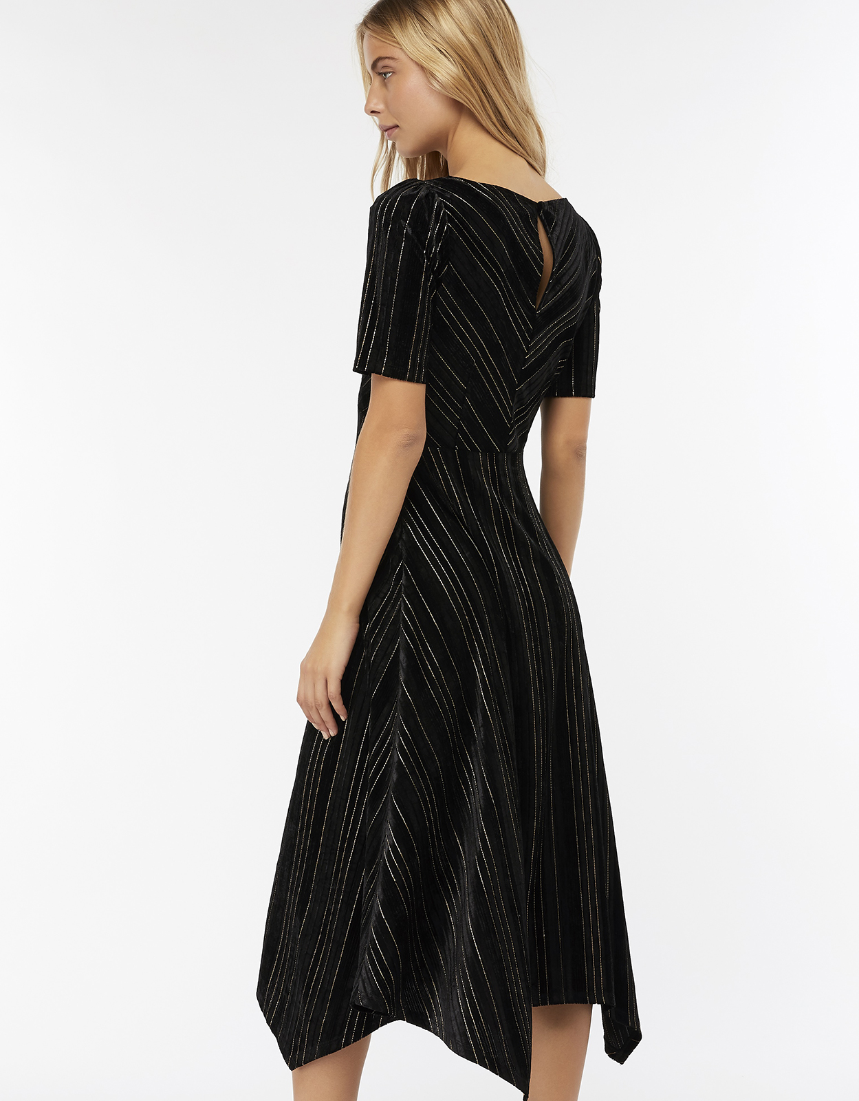 Monsoon Martha Stripe Velvet Midi Dress