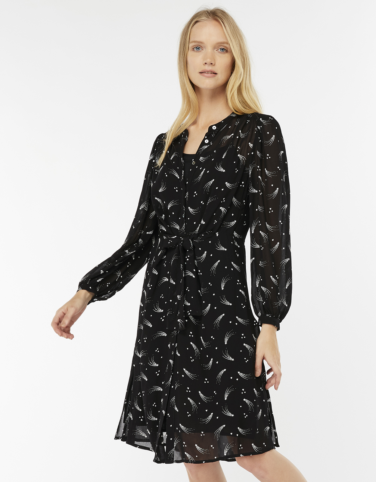 Monsoon Ziggy Star Print Tie Front Dress