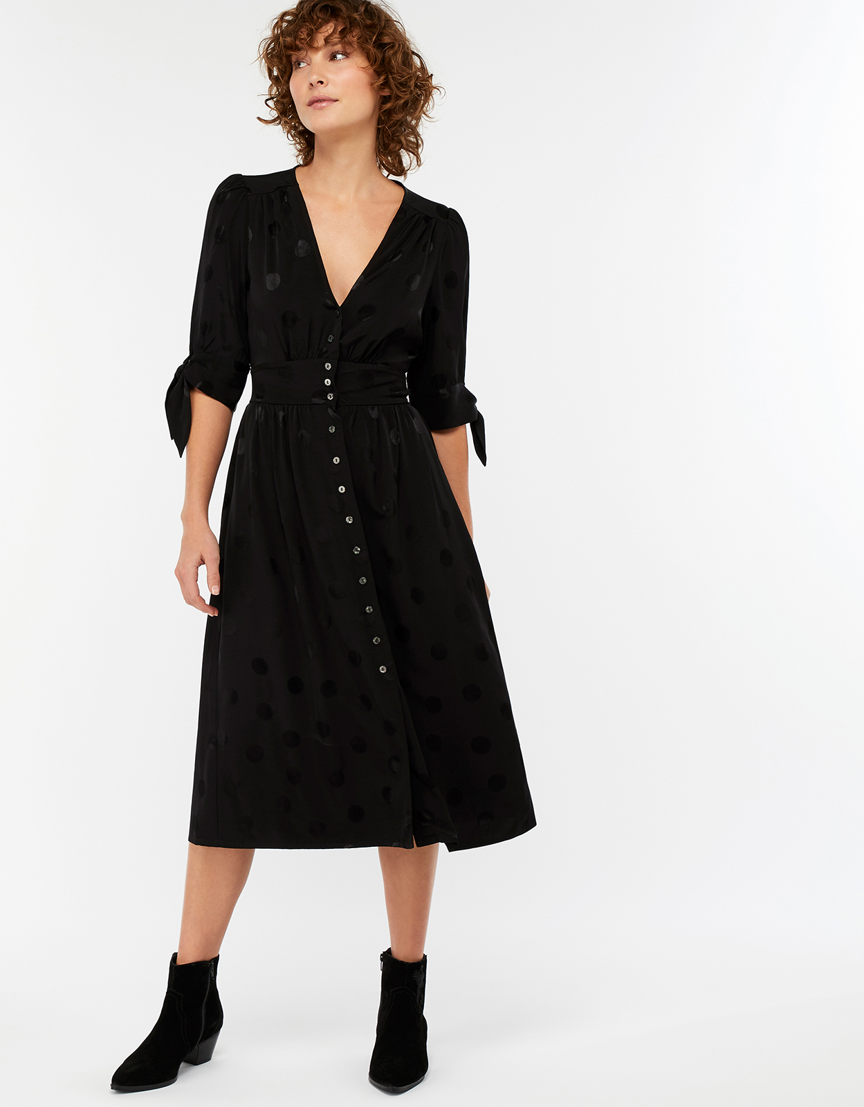 Monsoon Victoria Spot Jacquard Midi Dress