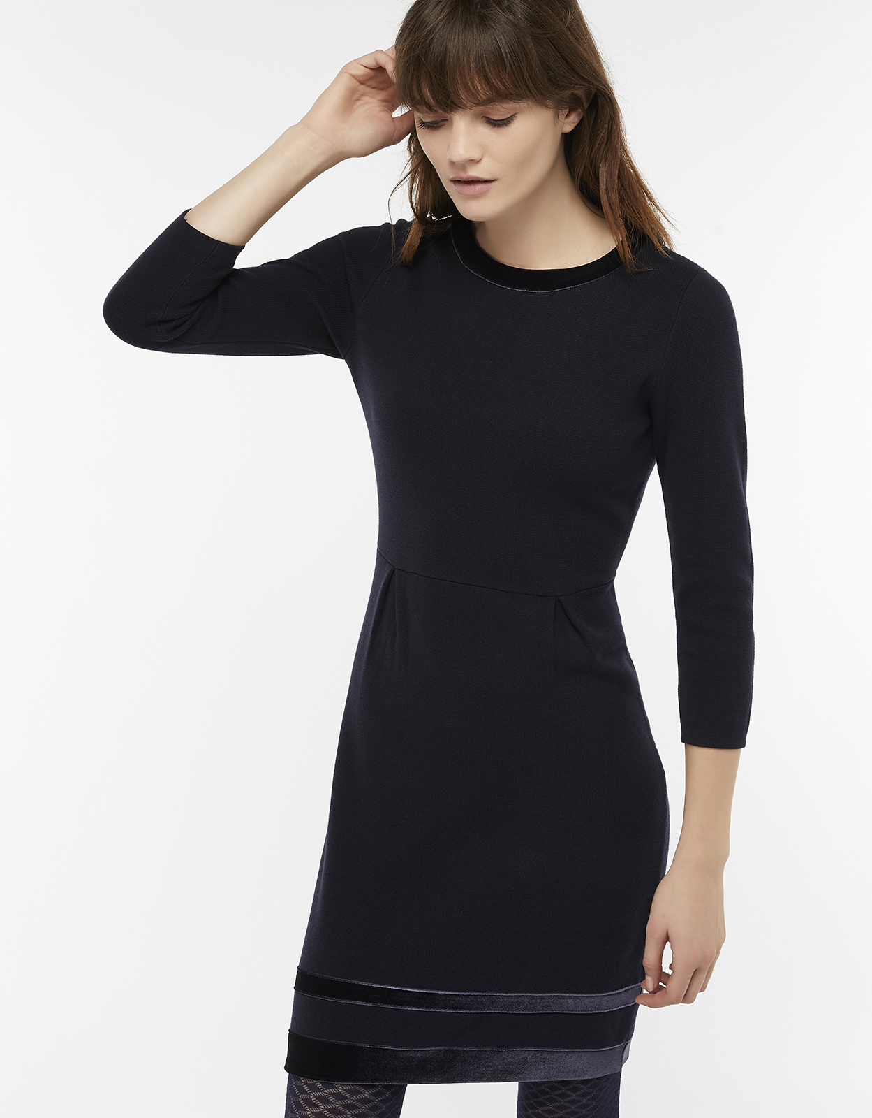 Monsoon Estella Velvet Trim Smart Knit Dress