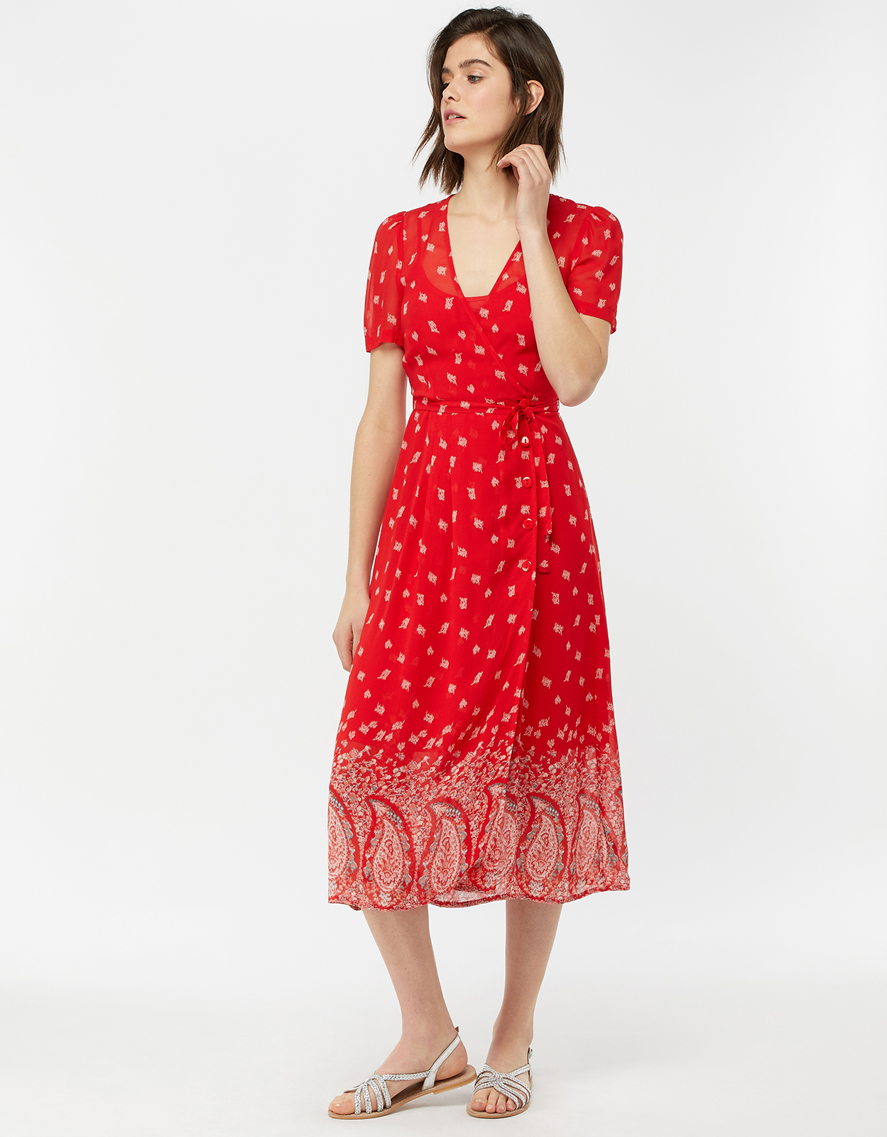 Monsoon Odette Paisley Print Midi Dress