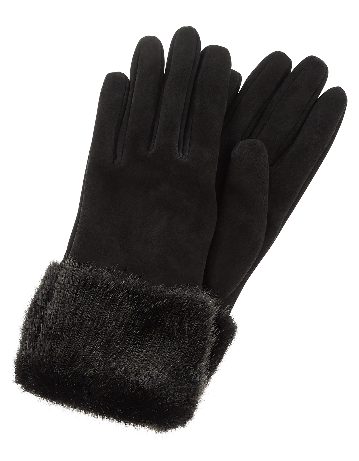 Monsoon Fortune Faux Fur & Suede Gloves