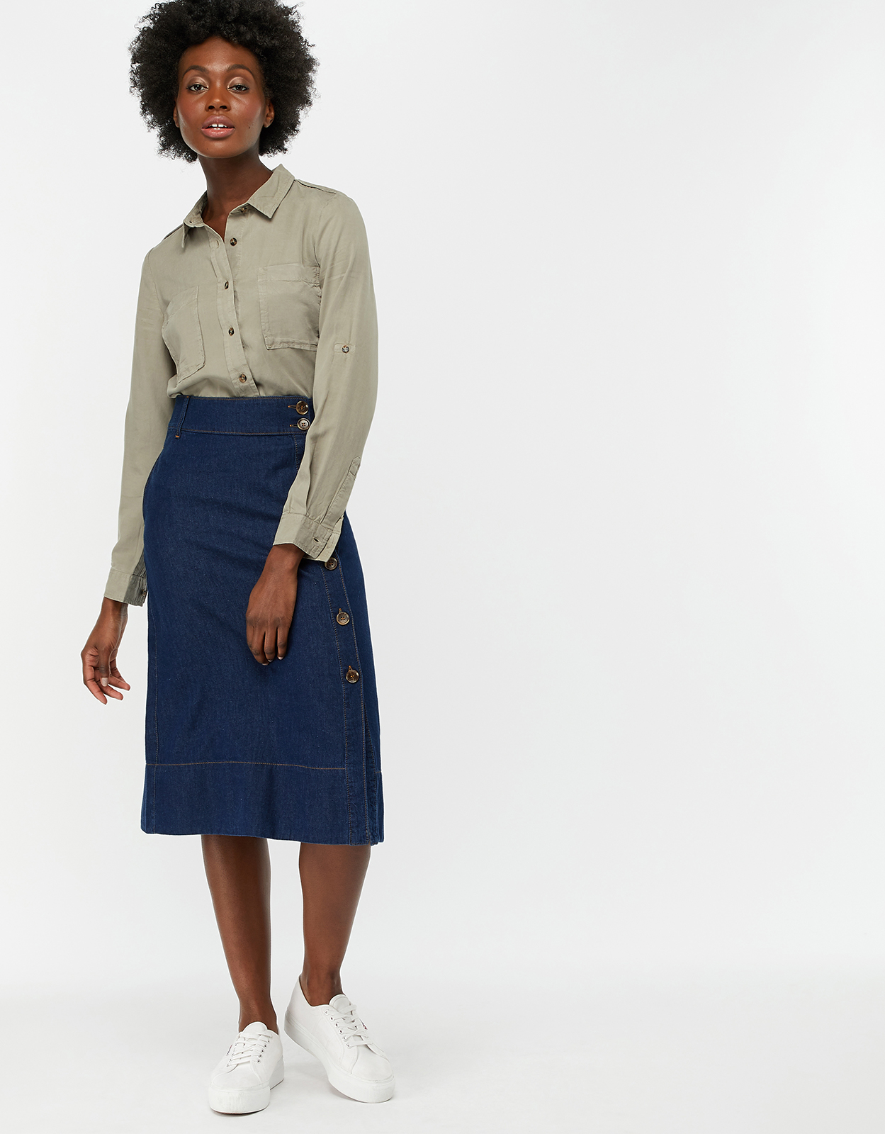 Monsoon Maya Midi Denim Skirt
