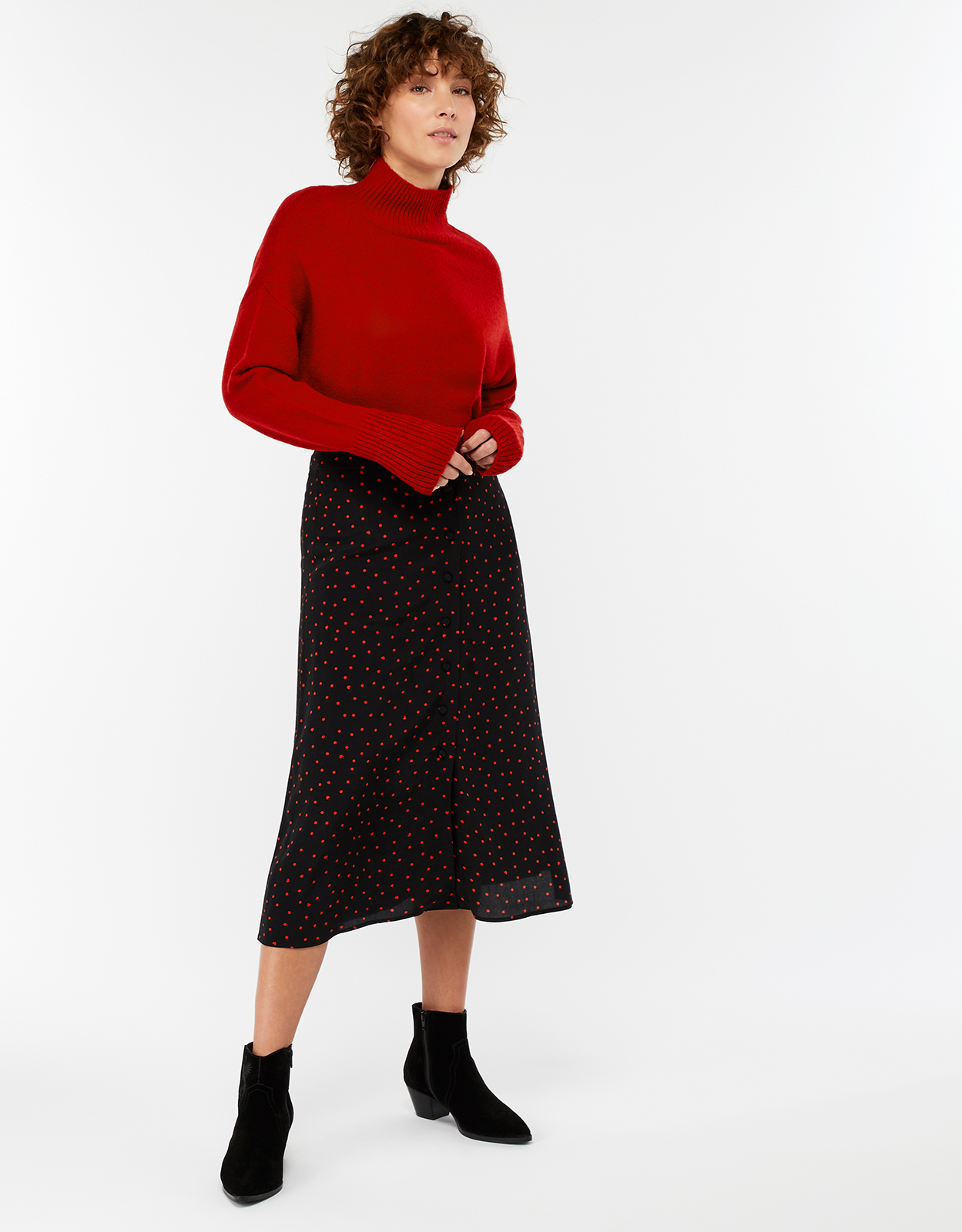 Monsoon Hayley Heart Printed Midi Skirt