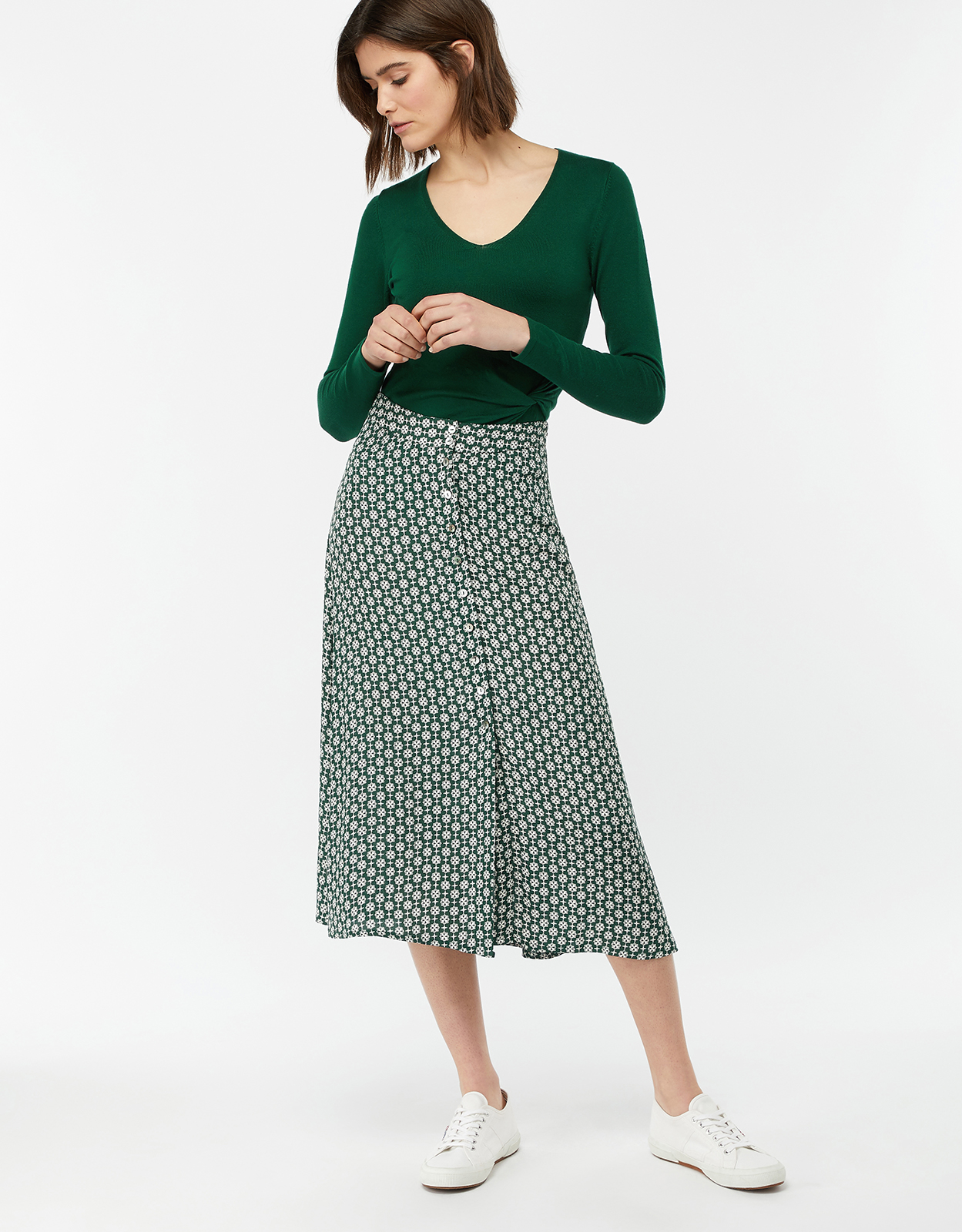 Monsoon Monica Printed Midi Skirt