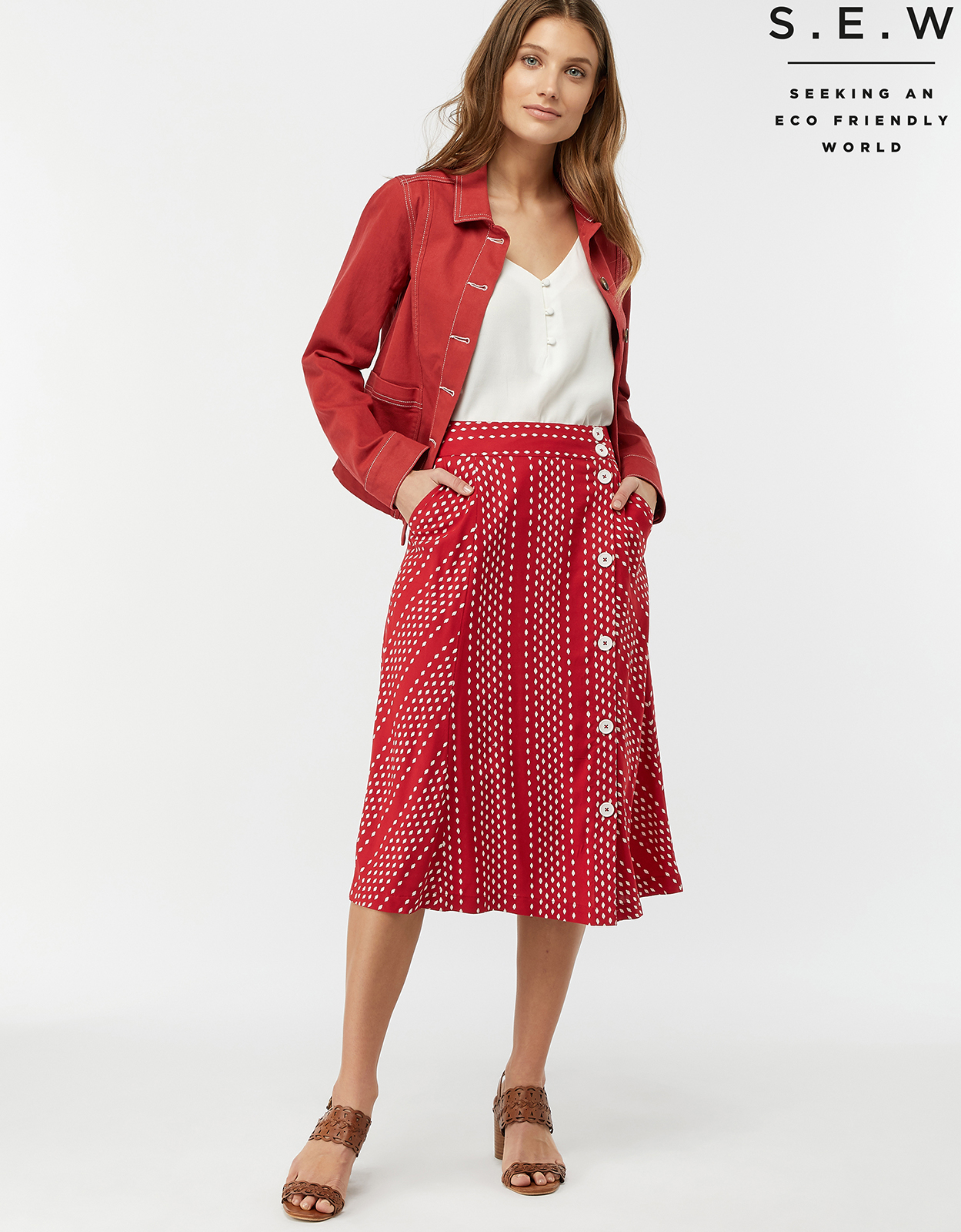 Monsoon Itria Printed Midi Skirt