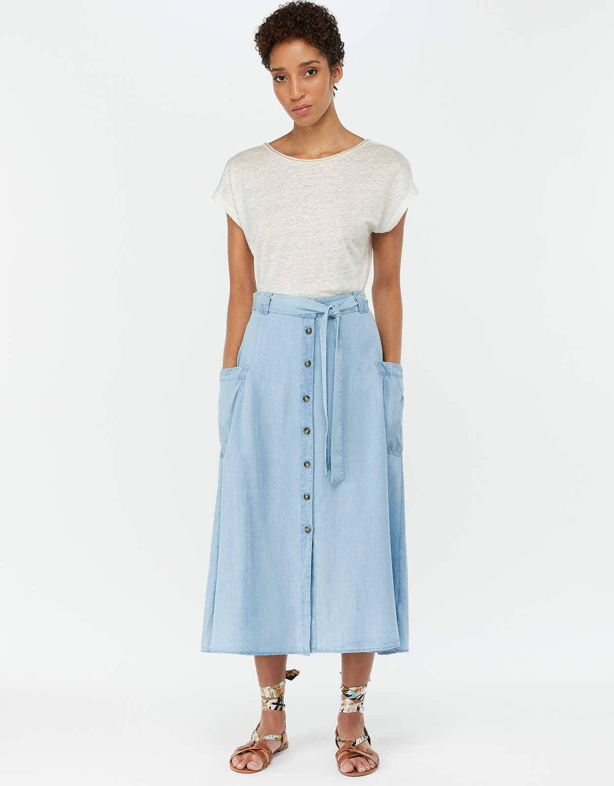 Monsoon Dana Button Front Skirt