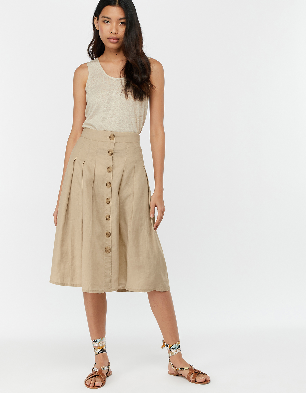 Monsoon Tilly Fixed Pleat Skirt