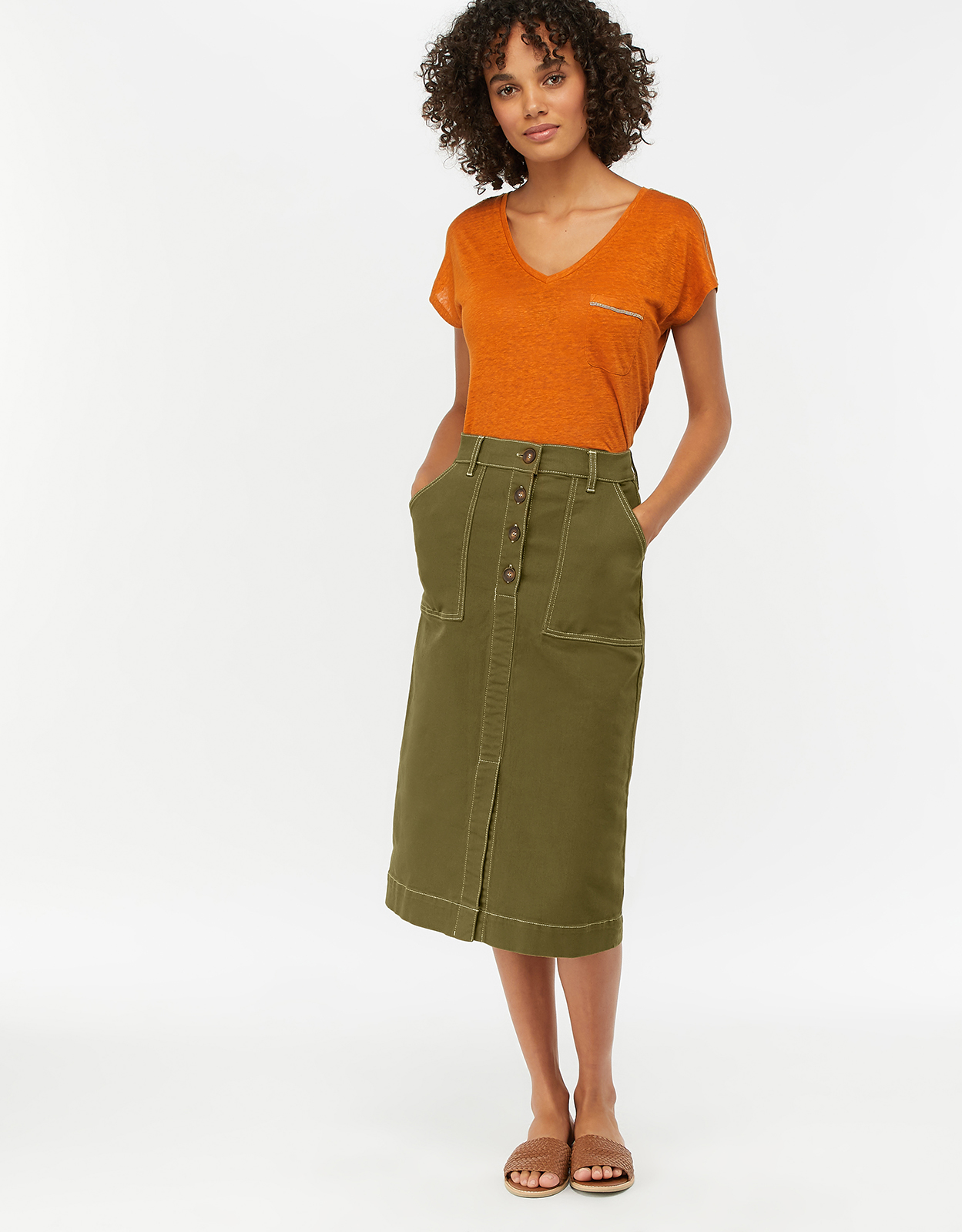 Monsoon Ania Long Denim Skirt