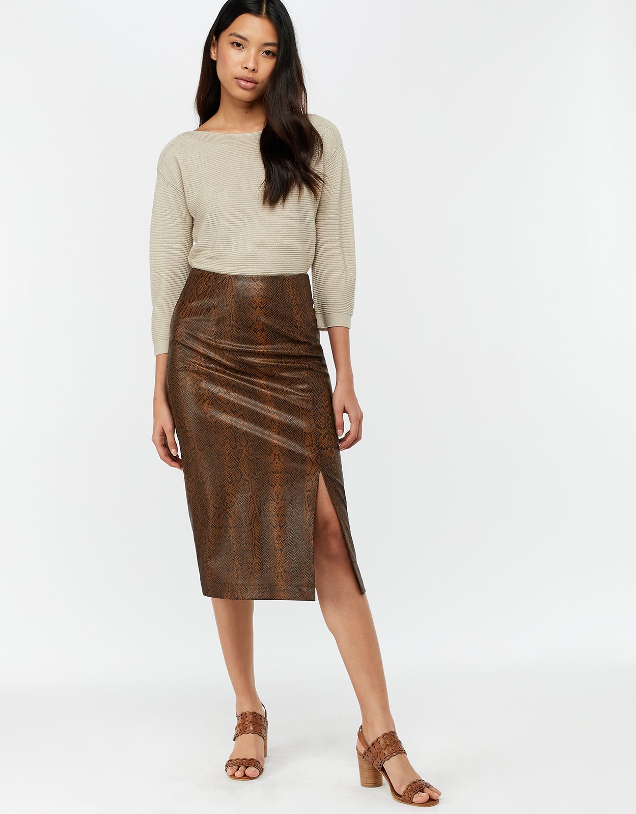 Monsoon Scarlett Snake PU Skirt