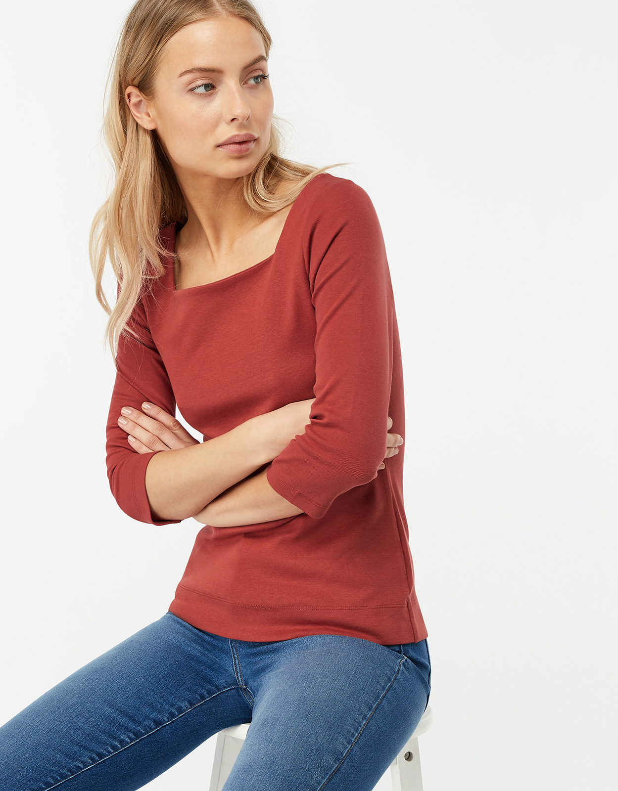 Monsoon Bryony Square Neck Basic Top