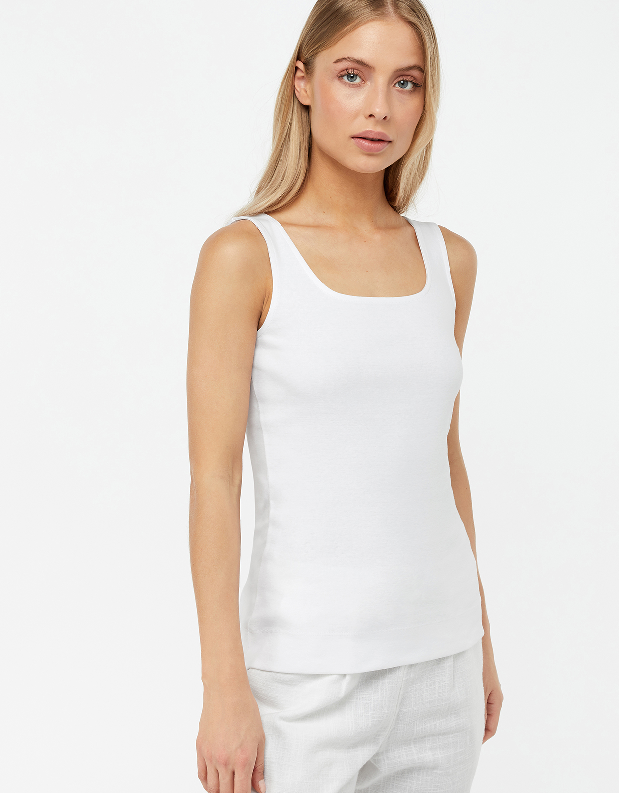 Monsoon Bridey Square Neck Jersey Sleeveless Top