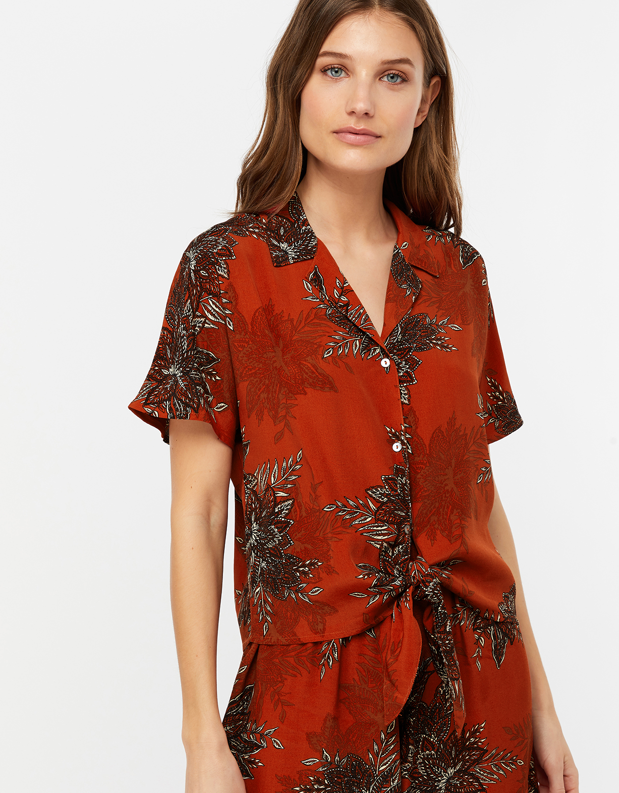 Monsoon Carlotta Print Tie Front Top
